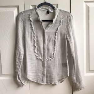 Faint blue casual button up blouse